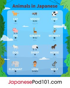 Animals in Japanese! Learn Japanese with the best FREE online resources, just click here!!