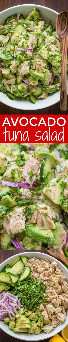 Healthy Avocado Recipes - Avocado Tuna Salad Recipe - Easy Clean Eating Recipes for Breakfast, Lunches, Dinner and even Desserts - Low Carb Vegetarian Snacks, Dip, Smothie Ideas and All Sorts of Diets - Get Your Fitness in Order with these awesome Paleo Detox Plans - thegoddess.com/healthy-avocado-recipes