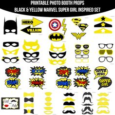 Instant Download Yellow Marvel Super Girl Hero Inspired Printable Photo Booth Prop Set — Amanda Keyt DIY Photo Booth Props & More!
