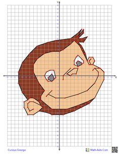 Curious George  Graphing worksheets with characters.  Four quadrant graphing puzzles of ordered pairs