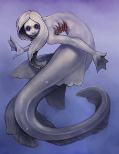 Frilled sharkmaid by stringmouse. I don't know if it's supposed to be intentional, but she looks undead and I find that morbidly funny considering that every time we've seen a frilled shark, they've been on the verge of death. Evil Mermaids, Mermaids And Mermen, Scary Mermaid, Mermaid Art, Ocean Creatures, Mythical Creatures, Frilled Shark, Water People, Water Fairy