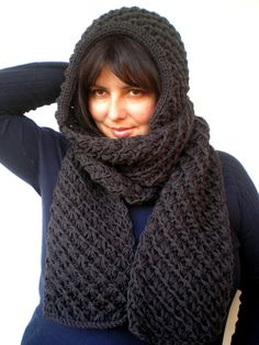 Items similar to Charcoal Star Extralong hooded Scarf Hand Knitted Wool Hood Woman Hooded Scarf Gift under 100 NEW on Etsy Chocolate Stars, Star Wars, What A Girl Wants, Hooded Scarf, Dark Grey Color, Hand Knitting, Hoods, Charcoal, Pure Products
