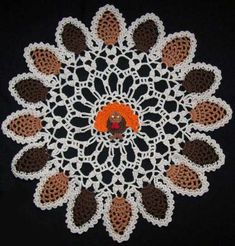 Thanksgiving Fall Leaves and Turkey Crochet Doily
