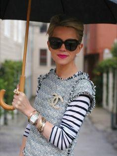 Tweed and striped knit top. Streetwear, Blair Eadie, Merian, Chanel Jacket, Tweed Dress, Coat Dress, Chanel Fashion, Coco Chanel, Casual Chic