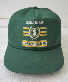 7e51dfc1467 Jekyll Island Millionaires Club Vintage Snapback Trucker Hat Cap Green NOS  One Size Adjustable Made in