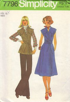 70s Classic Wrap Dress Simplicity Sewing by AdeleBeeAnnPatterns, $7.50
