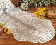 Fillet Crochet, Crochet Tablecloth, Crochet Lace, Doilies, Curtains, Home Decor, Railings, Paths, Table Runners