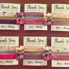 Custom Calligraphy Hair Tie Favors // Birthday Party by LoveMiaCo