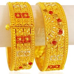 22K Gold three tone Kada ( 2 PCS)