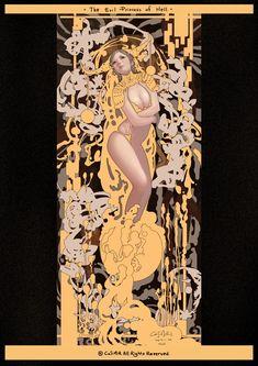 ArtStation - The Evil Princess of Hell, Casimir Lee Evil Princess, Comics Anime, Art Nouveau Illustration, Jugendstil Design, Alphonse Mucha, Erotic Art, Art Inspo, Game Art, New Art
