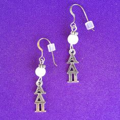 Licensed Alpha Omicron Pi Pearl Earrings on by AnnPedenJewelry, $12.99
