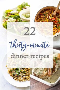 Need some ideas for dinners that take 30 minutes or less? Here are 22 ways to get dinner on the table during the week! Quick Recipes, Quick Meals, Gourmet Recipes, Appetizer Recipes, Soup Recipes, Pasta Recipes, 30 Minute Dinners, Spring Recipes, Winter Recipes
