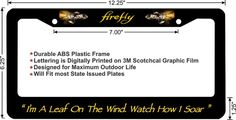 FIREFLY SERENITY Custom Crafted license plate frame.  Dedicated to the Firefly…