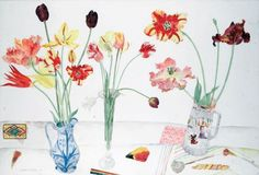 """Elizabeth Blackadder (Scottish first woman elected to both Royal Scottish Academy & Royal Academy Art Floral, Watercolor Flowers, Watercolor Art, Still Life Artists, Blackadder, Illustration Blume, Book Flowers, School Painting, Art Drawings Beautiful"