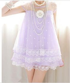 Stars and Lace Baby Doll Dress in Lilac  / Pastel Goth, Soft GrungeShop Ulzzang Style Circle Lenses & Cosmetic Accessories from EyeCandy's