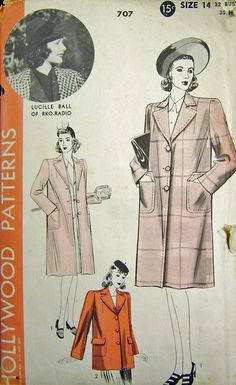 Hollywood Patterns 707 Lucille Ball of RKO Radio 1940s Vintage Sewing Pattern Coat Bust 32