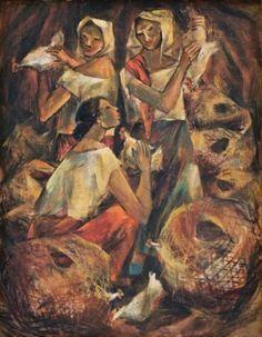 Artist Anita Magsaysay-Ho  TitleMga Naglalako Ng Manok (Chicken of the Naglalako)