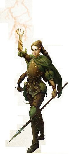Dryad with leather armor, spear, a very long braid, and a bit of Air magic...