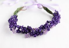 Purple Floral Crown Summer Head Wreath Flower Girl by HandyCraftTS, $28.90