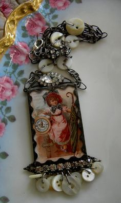 Soldered Glass Assemblage Charm Necklace  Chadwick by Vintagearts, $70.00