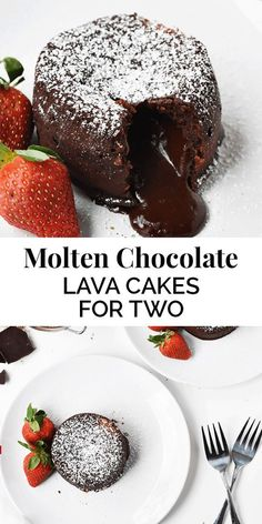 Molten Chocolate Lava Cakes for Two This is one of those recipes that sounds complicated and extremely intimidating, but is actually the exact opposite. I think even a beginner baker can master molten chocolate lava cakes. Dessert Dips, Diy Dessert, Smores Dessert, Dessert Aux Fruits, Dessert For Two, Pumpkin Dessert, Mini Desserts, Chocolate Desserts, Easy Desserts