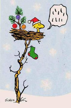 Woodstock Wearing a Santa Hat With Christmas Tree and Christmas Stocking in His Nest