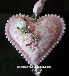 ~ Pearl Edged Felt Heart ! This would make a beautiful Christmas Ornament....: