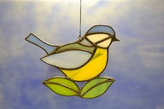Stained Glass Bluetit suncatcher - this Lovely little bird was hand made using the Tiffany copper foil technique.