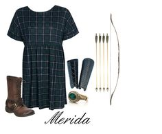 """""""Fairy Tales - Merida"""" by jessba ❤ liked on Polyvore featuring Boohoo, Nine West, Accessorize and Arrow"""