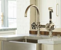 Lovely Vintage Industrial Style Kitchen Faucet. Vintage Industrial Style Kitchen  Faucet With Stainless Steel Farmhouse Sink