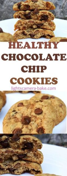 Healthy Chocolate Chip Cookies are soft, chewy and buttery chocolate chip cookies that are gluten free, dairy free and vegan! Buttery Chocolate Chip Cookies, Dark Chocolate Recipes, Baking Recipes, Cookie Recipes, Dessert Recipes, Easy Desserts, Healthier Desserts, Cacao Recipes, Dairy Free Cookies