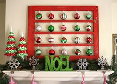 A Diamond in the Stuff: My {Red & Green} Christmas Mantel. Cute ornament display idea