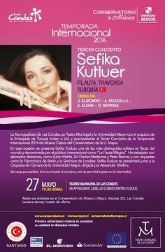 Mañana se presenta la flautista Sefika Kutluer en el Tercer Concierto de la Temporada Internacional de la Universidad Mayor. No te lo pierdas! #umayor   #conservatorio   #música   #concierto
