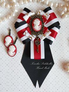 Ribbon Jewelry, Ribbon Art, Fabric Ribbon, Ribbon Crafts, Fabric Jewelry, Ribbon Bows, Ribbons, Brooch Corsage, Women Bow Tie