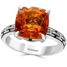 Effy Citrine and Sterling Silver Ring ($275) ❤ liked on Polyvore featuring jewelry, rings, orange, orange jewelry, sterling silver citrine ring, effy jewelry, orange ring and sterling silver jewellery