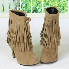 Discount China china wholesale High Quailty Nubuck Tassel Trim Roman Retro Style Bootie Chunky Crude Low Heels Bootie Shoes [50023] - US$18.49 : DealsChic