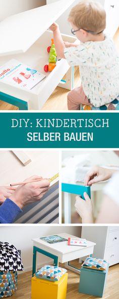 Kinderzimmer DIY: Kindertisch aus Holz zum Aufklappen, mitwachsender Tisch / nursery diy: adjustable table for kids with lots of storage via DaWanda.com