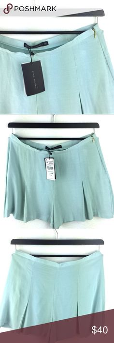 """Zara Sea Foam Green Shorts Super cute and flowy shorts that resemble skirt. Material is kind of see through, would work well with nude colored underwear.   FLAT LAY Measurements:    Length 15""""   Waist 16""""  Inseam 3""""     Brand New Condition: 10 out of 10 rating Zara Shorts"""