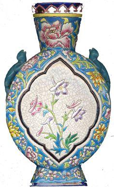 'Gourde' N° 1121 le N° du décor D.792 | fleurs: sabots de Vénus | Grand Longwy en ligne de creux | anses en forme de salamandres | fin du XIX e siècle