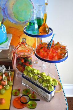 Mad Science Birthday Dessert Table: Splendid Display Idea
