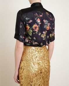 Dries van Noten - beautiful textured gold pencil and blue silk blouse with a floral print (kinda a scandanavian floral)