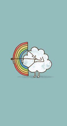 Kawaii wallpaper of a cloud shooting a rainbow with a bow & arrow. Iphone 6 Wallpaper, Cool Wallpaper, Mobile Wallpaper, Wallpaper Backgrounds, Rainbow Wallpaper, Kawaii Wallpaper, Rainbow Bow, Rainbow Cloud, Dibujos Cute