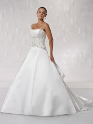 Kathy Ireland Wedding Dress - Style 231203. Strapless luxurious satin ball gown with softly curved neckline, intricately hand-beaded bodice features pleated bust line and softly dipped back, dramatic pleated carriage back skirt features chapel length train adorned with matching beading. Detachable spaghetti and halter straps included. #kathyirelandweddingdress