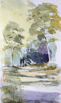 Original Watercolour Painting - Woodland Walk - Signed Annabel Burton