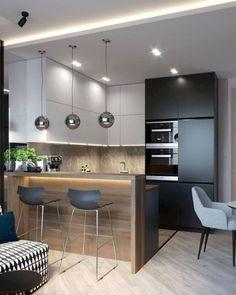 Small Kitchen Plans, Small Modern Kitchens, Modern Kitchen Interiors, Luxury Kitchen Design, Kitchen Room Design, Kitchen Cabinet Design, Kitchen Layout, Home Decor Kitchen, Interior Design Kitchen