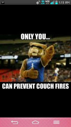 "UK Wildcats ""Only YOU can prevent couch fires""."