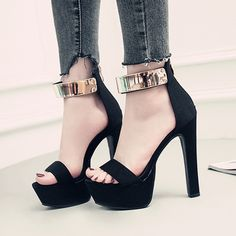 d6c7ee5b10e1 Sequin Open Toe Zipper Black Platform High Heels