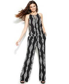 INC International Concepts Sleeveless Printed Jumpsuit