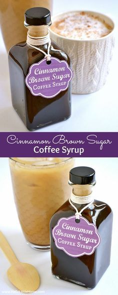 This delicious Cinnamon Brown Sugar Coffee Syrup is the perfect addition to your morning coffee! Add this homemade coffee syrup to an iced coffee, use it to make a latte, or attach the free printable gift tag and give it to your favorite coffee lover! | Hello Little Home