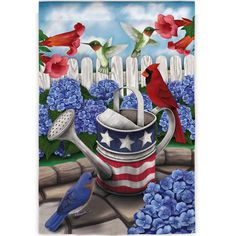 Add a patriotic touch to your patio or garden with this eye-catching flag, showcasing a garden motif.  Product: Flag...